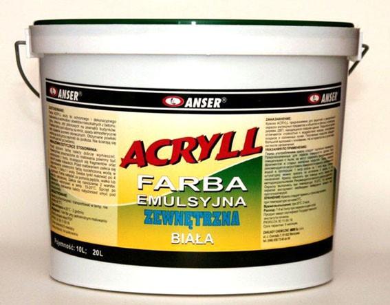 ANSER/Farba emulsyjna akrylowa zewnętrzna ACRYLL  5 L